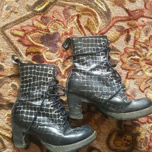 Doc Martens Black Silver 7 eye Heeled Boots